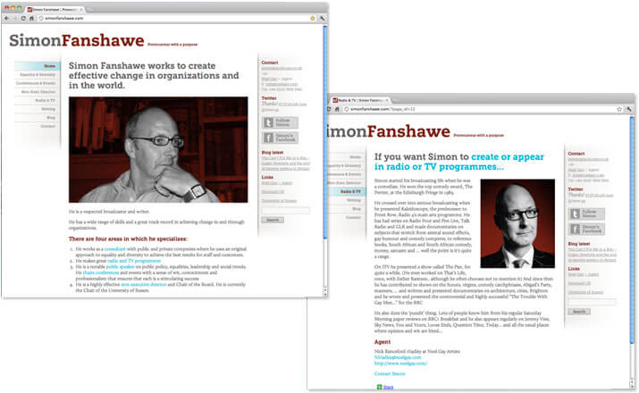 Simon Fanshawe website design