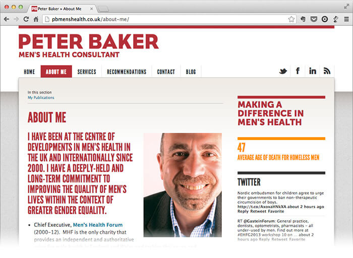 Peter Baker men's health website design