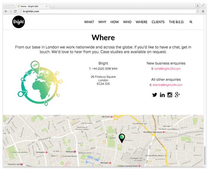 Bright brand experience website