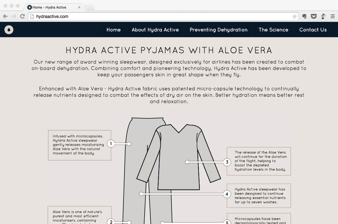 Hydra Active one page website