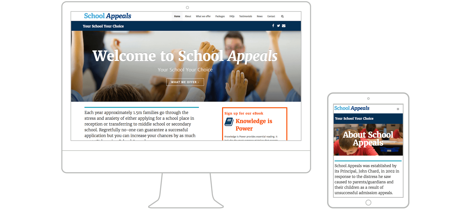 School Appeals responsive website design and content research