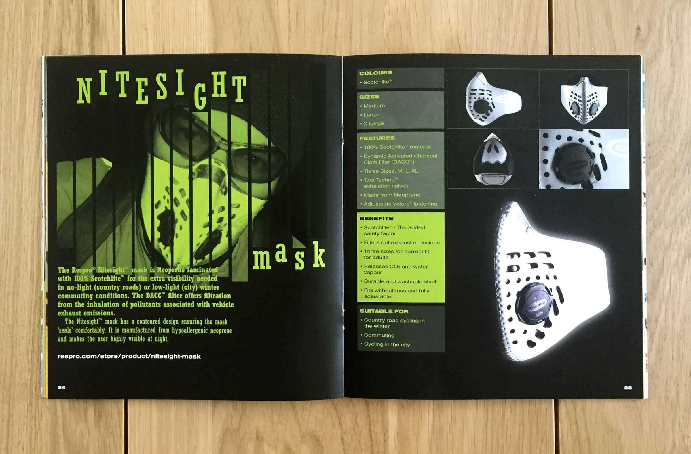Respro pollution masks catalogue design
